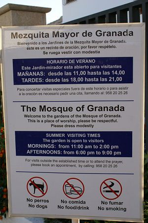 Opening times of Granada Mosque