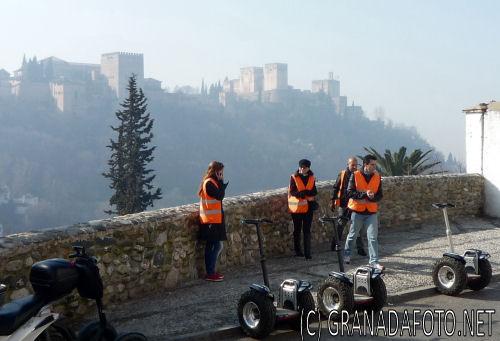 Segway riders admiring the views in Sacromonte