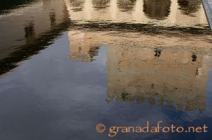 Reflections in flat areas of water in the Alhambra.
